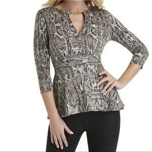 Snakeskin-Look Blouse with Chain Accent